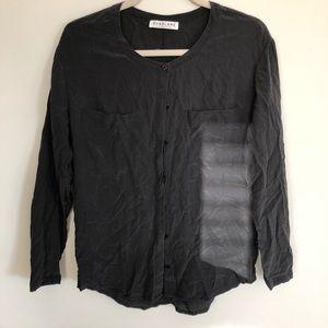 Black silk button down shirt
